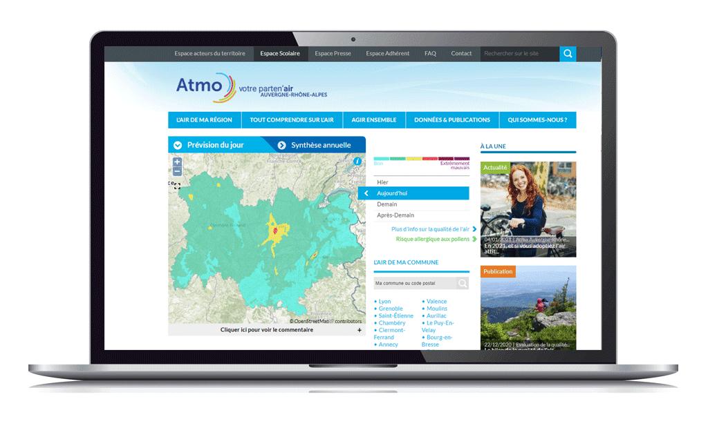 carte des prévisions de la qualité de l'air en Auvergne-Rhône-Alpes site www.atmo-auvergnerhonealpes.fr