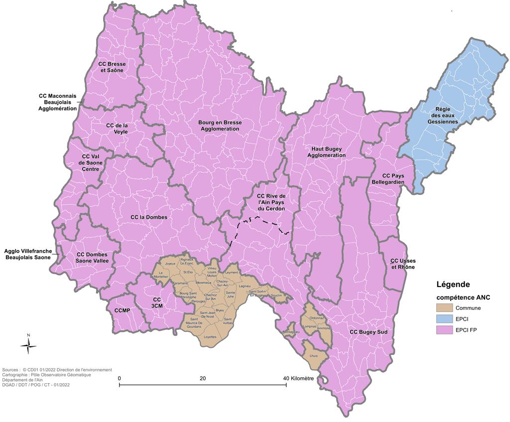 carte 2020 des collectivités compétentes en assainissement non collectif dans l'Ain