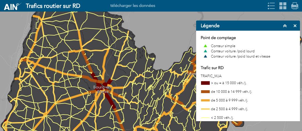 carte du réseau routier permettant de connaître le nombre de véhicule circulant sur les routes de l'Ain