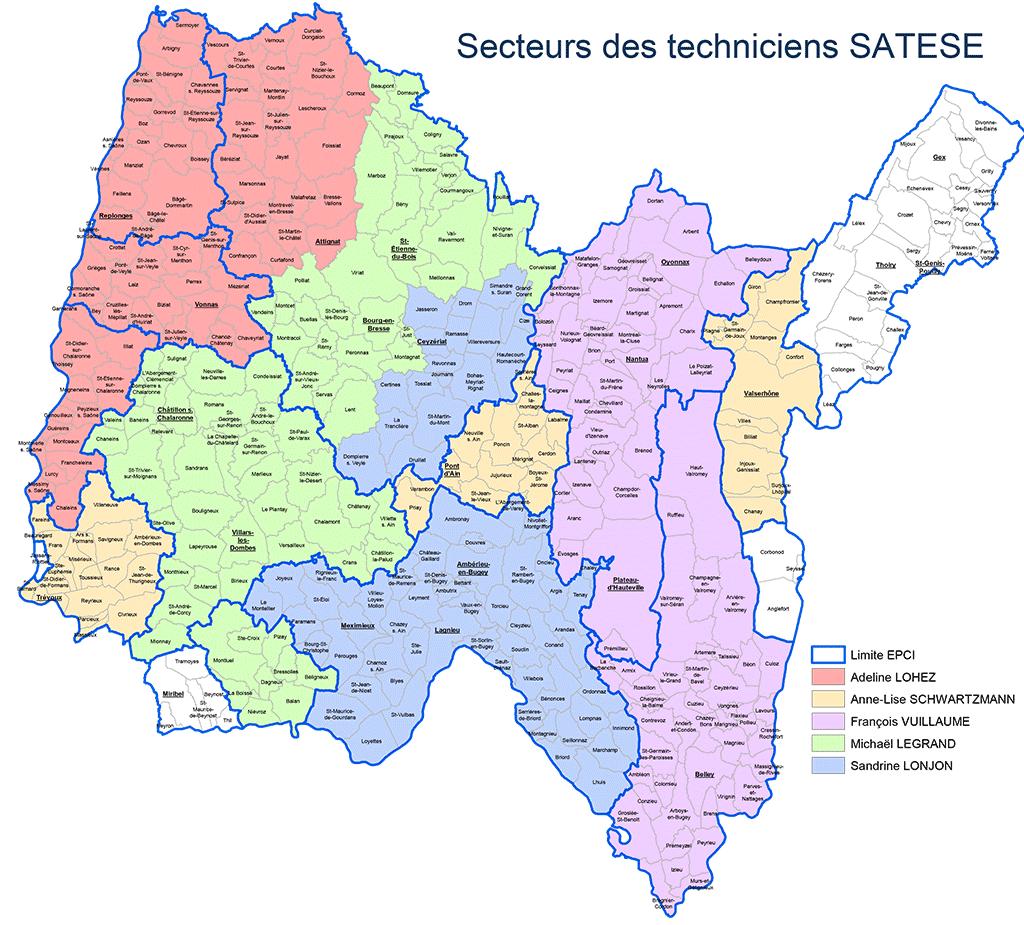 Carte 2020 de la répartition des techniciens Satese sur les communes de l'ain éligibles à l'assistance technique pour l'assainissement collectif