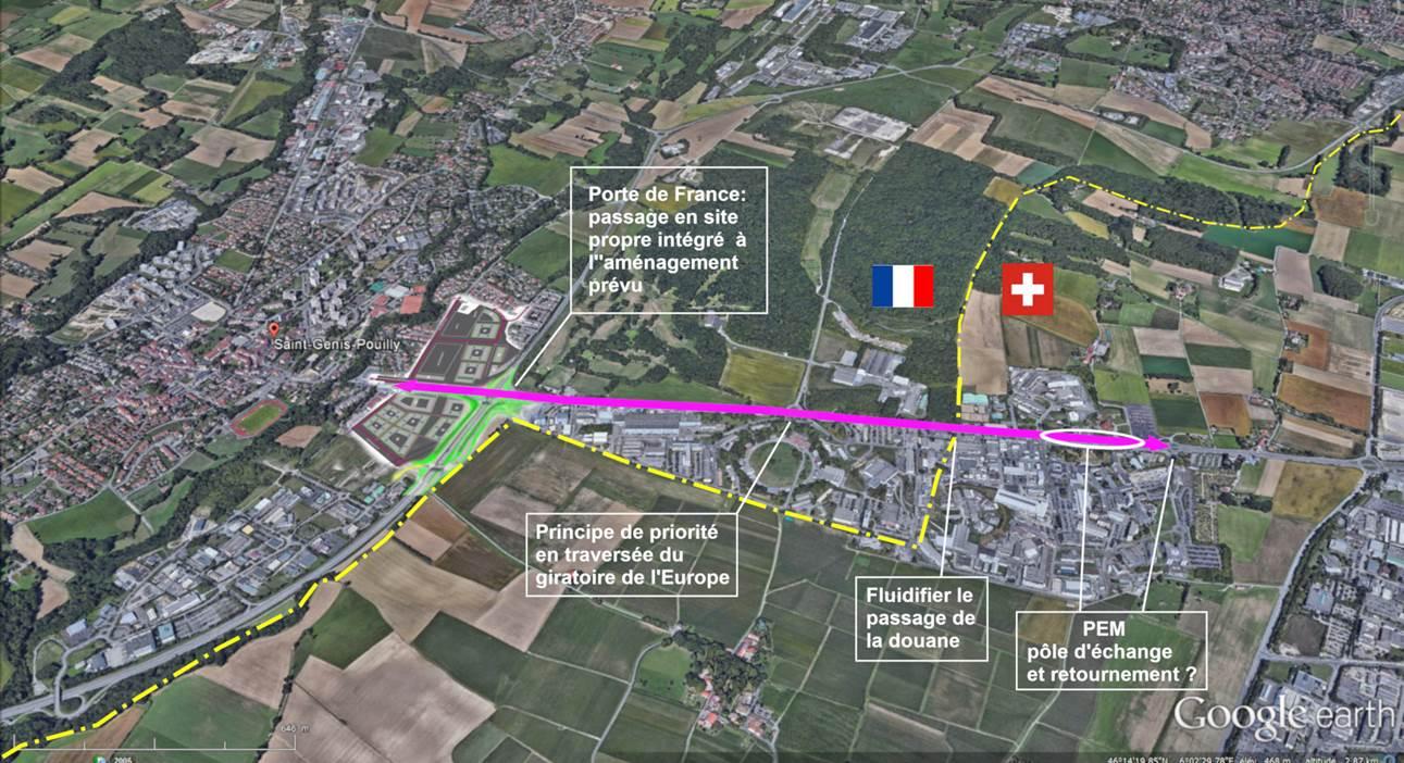 tracé BHNS Porte de France / Meyrin-CERN vue aérienne