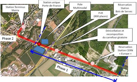 plan du tram entre St Genis Pouilly et le CERN
