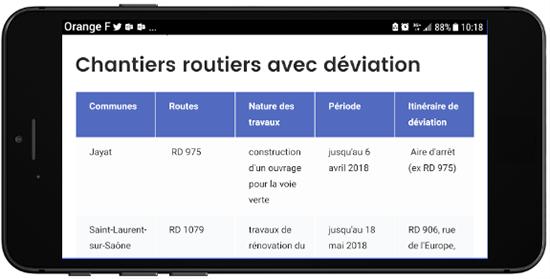 Vue mobile de la page web des chantiers routiers