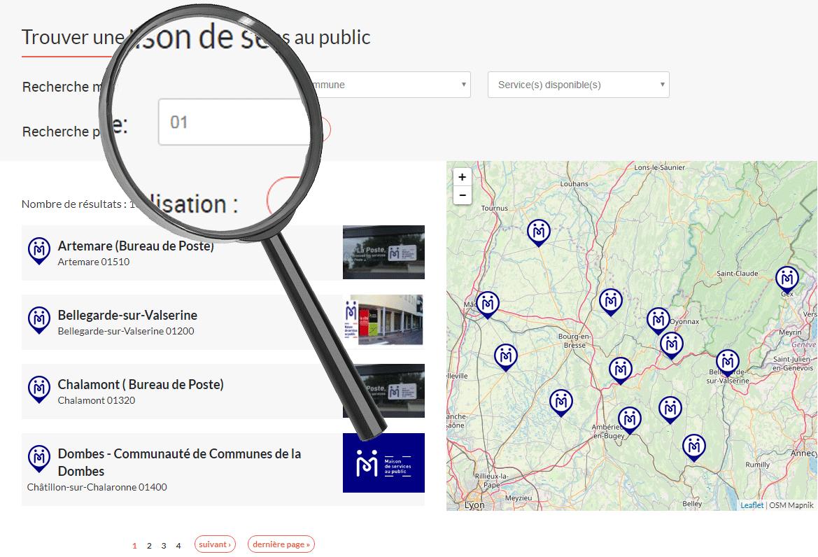 Visuel du formulaire de recherche pour une maison de service au public sur le site www.maisondeservicesaupublic.fr