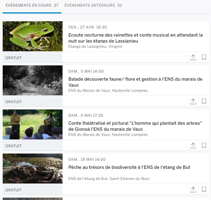vue partielle du calendrier des animations organisées par le conservatoire d'espaces naturels Rhône-Alpes