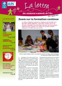la une du magazine Lettre des assistants maternels de l'Ain n°45 décembre 2016 - Zoom sur la formation continu