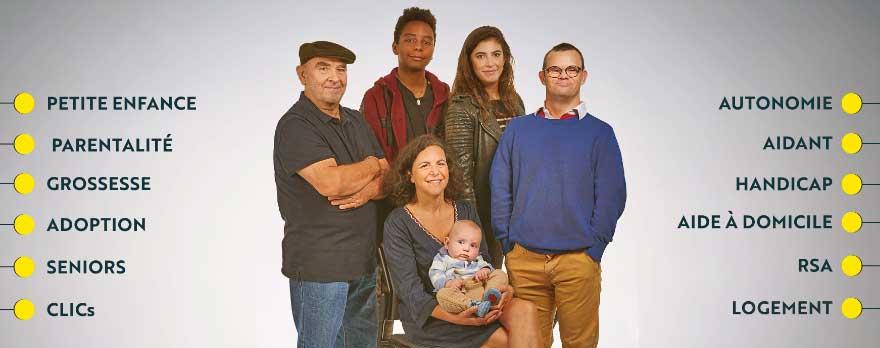 photo groupée de 5 usagers des services sociaux Bernard, 70 ans, Adrien, 15 ans, Salomé, 25 ans, Jean-Baptiste, 40 ans, Sybile et Théodore, 40 ans et 6 mois
