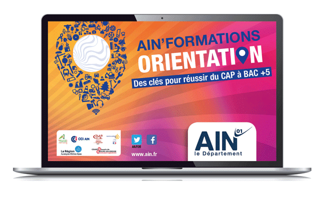 un ordinateur portable avec la page du salon Ainformation Orientation Afor 2021 100% digital