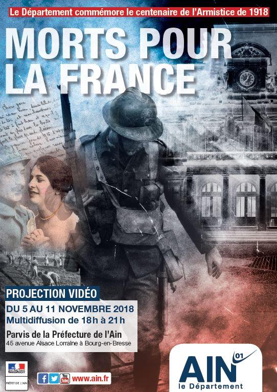 Projection vidéo sur la façade de la Préfecture de l'Ain du 5 au 11 novembre 2018, commémoration de l'armistice de 1918 Soldats part en guerre, couple d'amoureux, échange de lettres, les femmes travaillent dans les champs