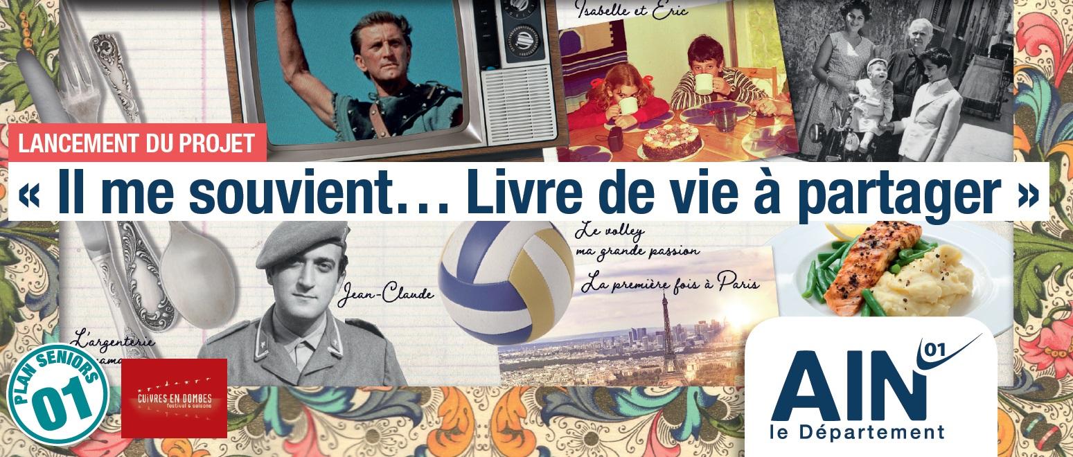"""visuel de l'invitation pour le lancement du projet """"Il me souvient... Livre de vie à partager"""""""