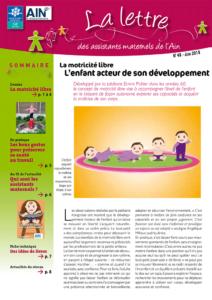 Couverture de la lettre d'information des assistants maternels de l'Ain n°48 Juin 2018 - sommaire : la motricité libre, L'enfant acteur de son développement