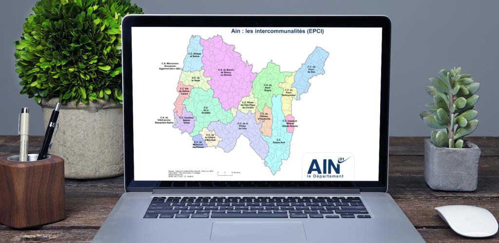 ordinateur portable montrant une carte des EPCI de l'Ain