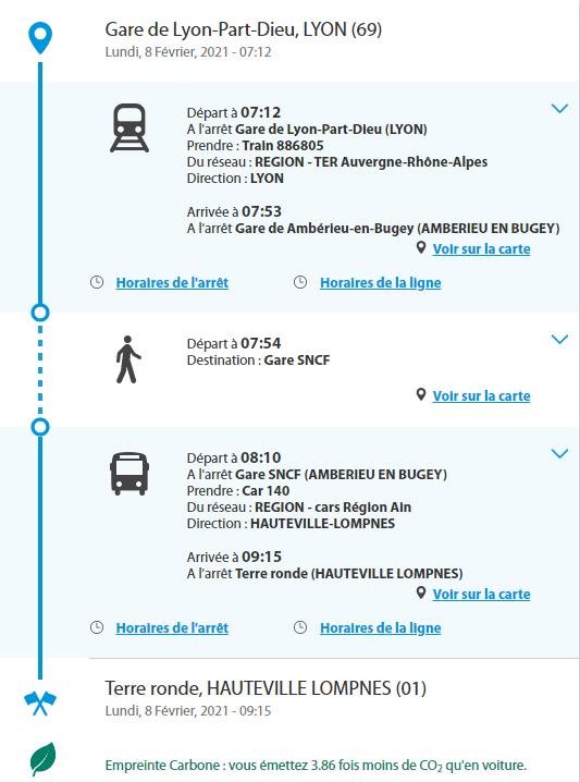 illustration du résultat du calculateur Oùra! concernant les horaires du train et de la ligne 140 de Lyon Part Dieu station de ski Terre Ronde à HauteVille-Lompnes