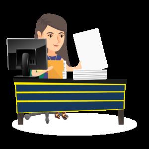 Dessin représentant un agent qui entre des données papier dans un ordinateur
