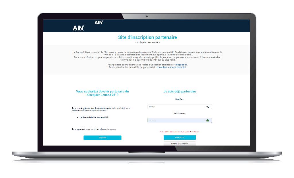 interface du Site d'inscription partenaire dépôt des bordereau chéquier jeunes 01 ain