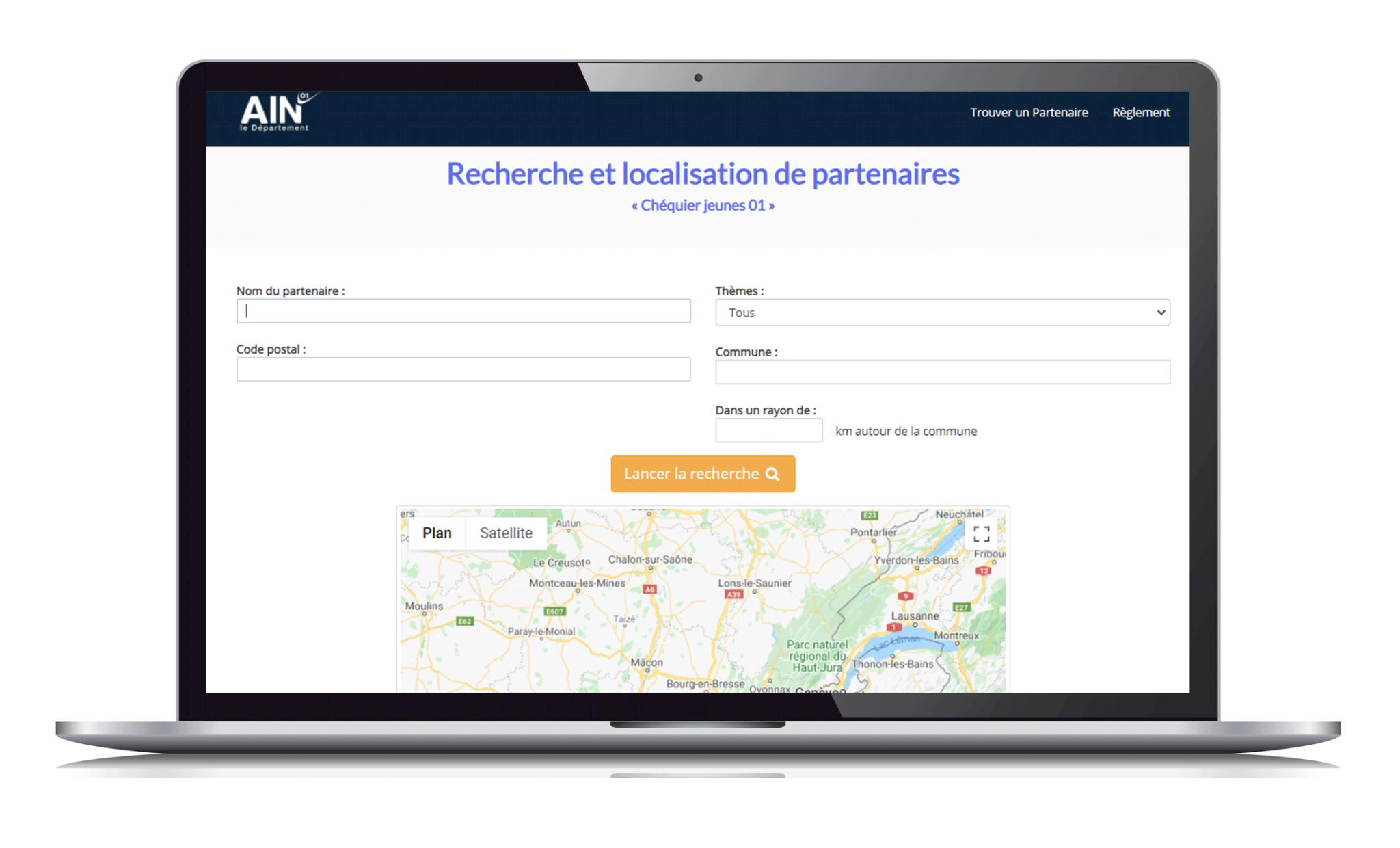 page recherche localiser un partenaire du chéquier jeune 01sur le site https://chequierjeunes.ain.fr/