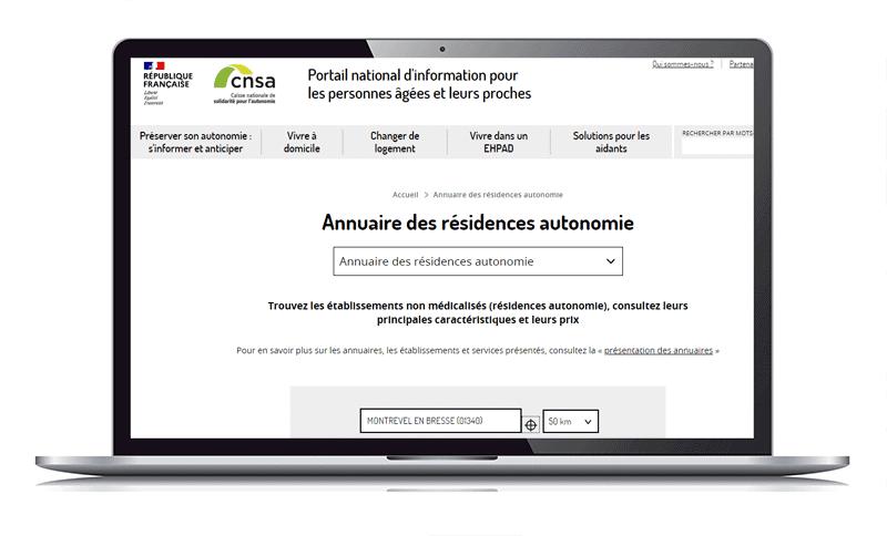 annuaire des résidences autonomie du site www.pour-les-personnes-agees.gouv.fr
