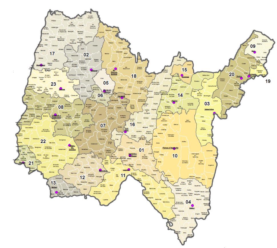 Illustration de la carte des communes et cantons de l'Ain