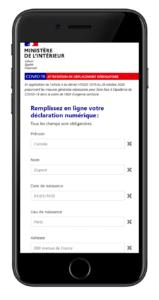 smarphone affichant la déclaration numérique de l'attestation de déplacement dérogatoire