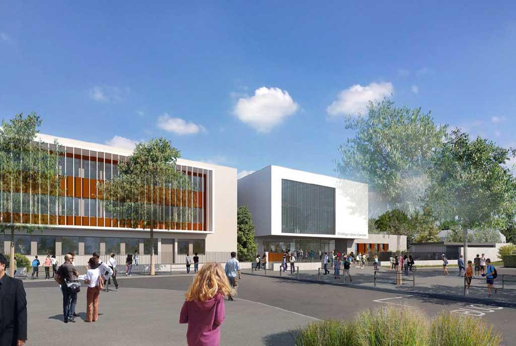Entrée principal Restructuration et extention du collège Léon Comas - Villars les Dombes : plan du futur collège 2026